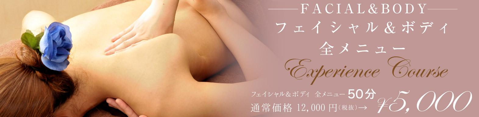 フェイシャル&ボディ全メニュー50分 通常価格12,000円のところ5000円にご利用いただけます。